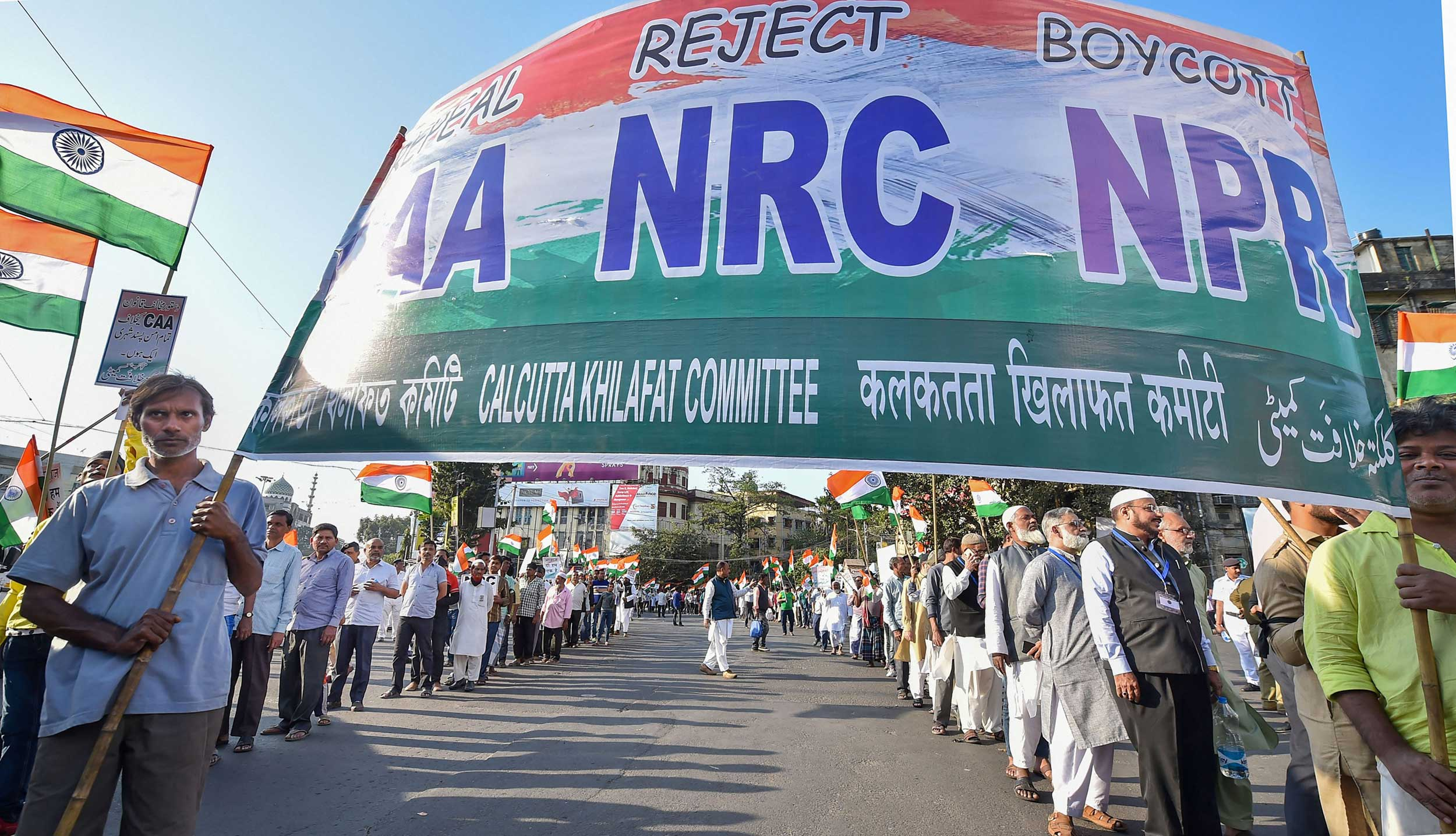 Protesters during a rally against CAA, NPR and NRC in Calcutta.
