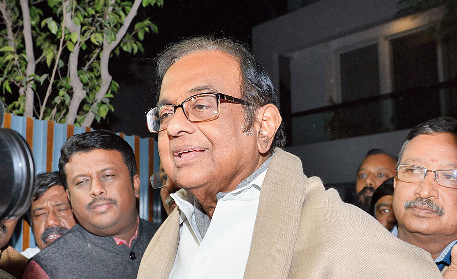 Chidambaram arrives at his residence on Wednesday.