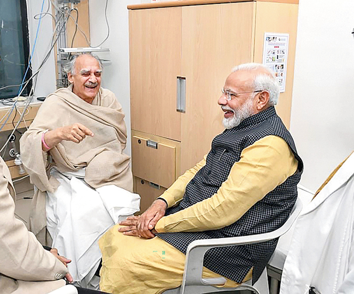 A picture tweeted by Modi shows him with Shourie at the Pune hospital on Sunday