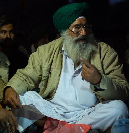 Kalwant Singh from Uttar Pradesh at the Ramlila Grounds on Thursday.