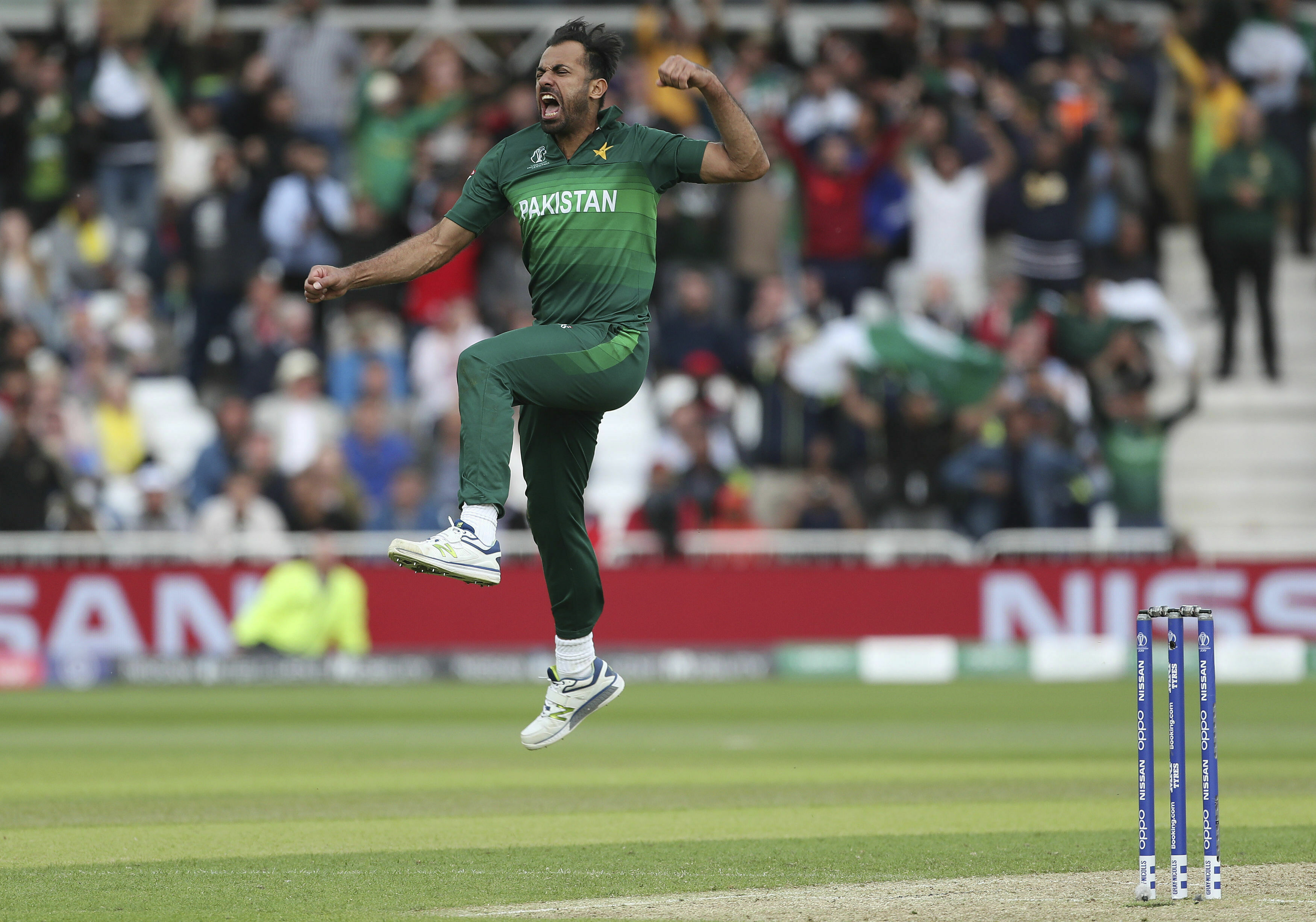 Pakistan's Wahab Riaz celebrates taking the wicket of England's Chris Woakes at Trent Bridge on June 3.