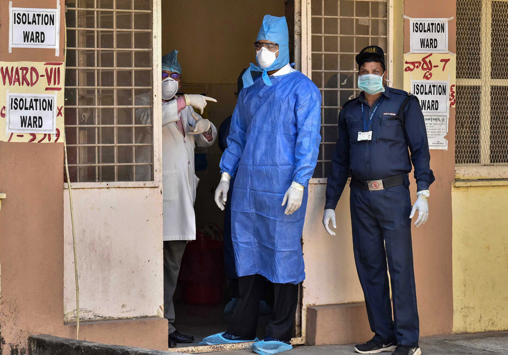 A central team visits the Special Isolation Ward set up to provide treatment to any suspected case of the coronavirus at a hospital, in Hyderabad, Tuesday, January 28, 2020.