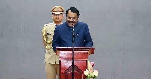 P.S. Sreedharan Pillai  addresses the Statehood Day celebration in Aizawl.
