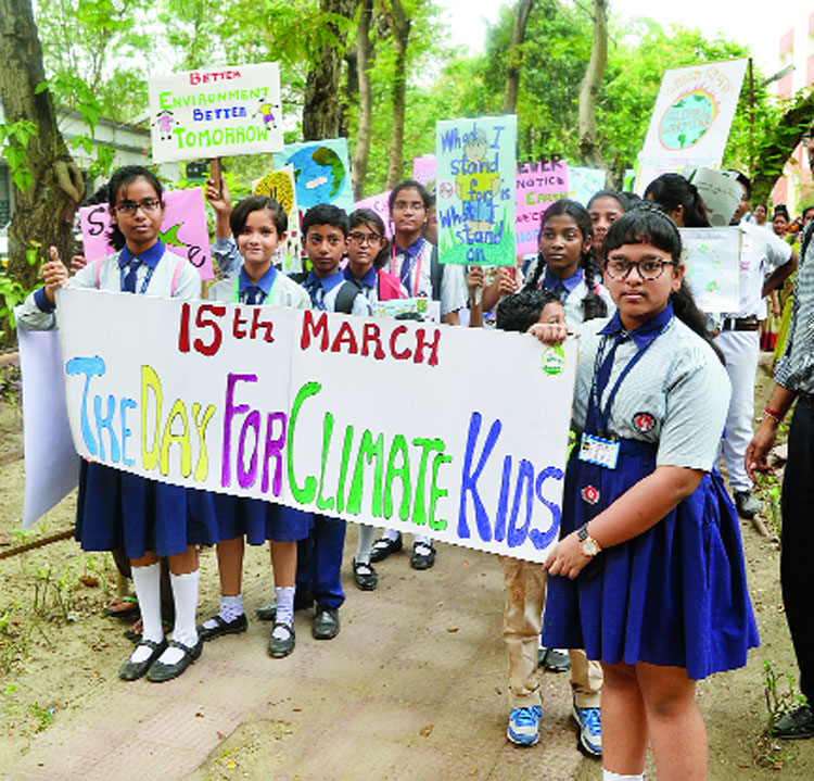 Students participate in the Fridays For Future movement at Jadavpur University.