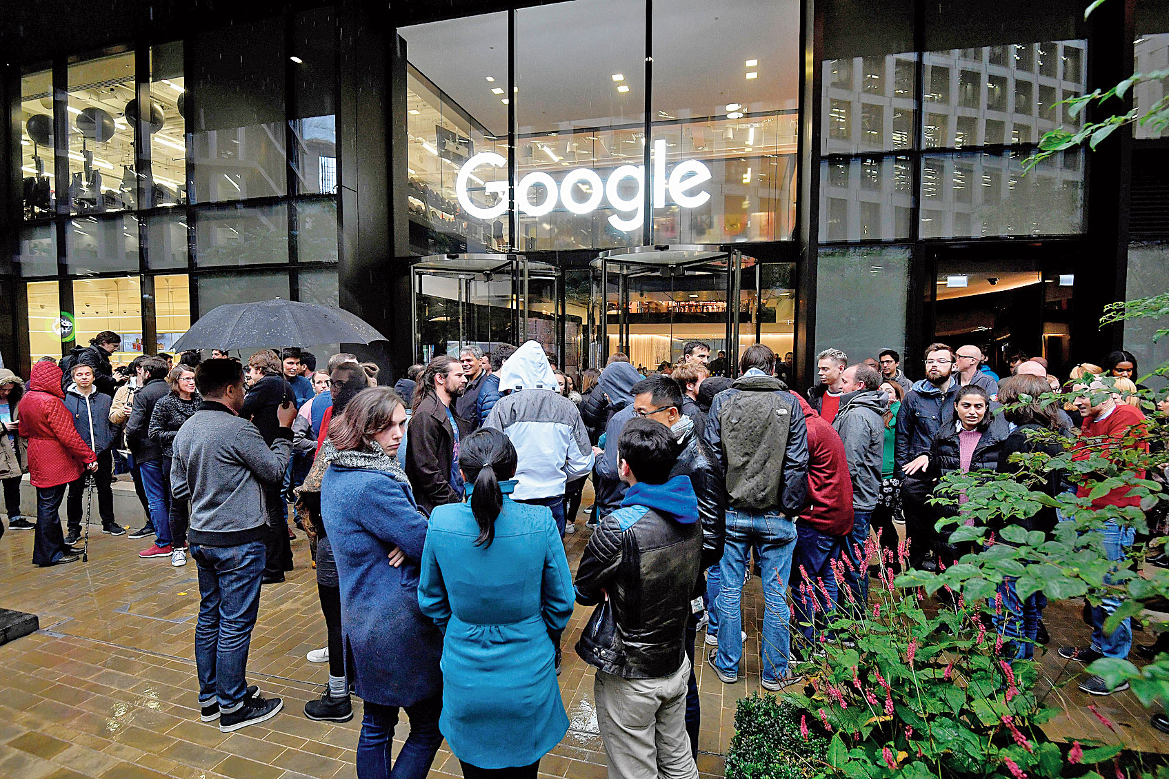 Google workers during a walkout at the company's UK headquarters in London on Thursday.