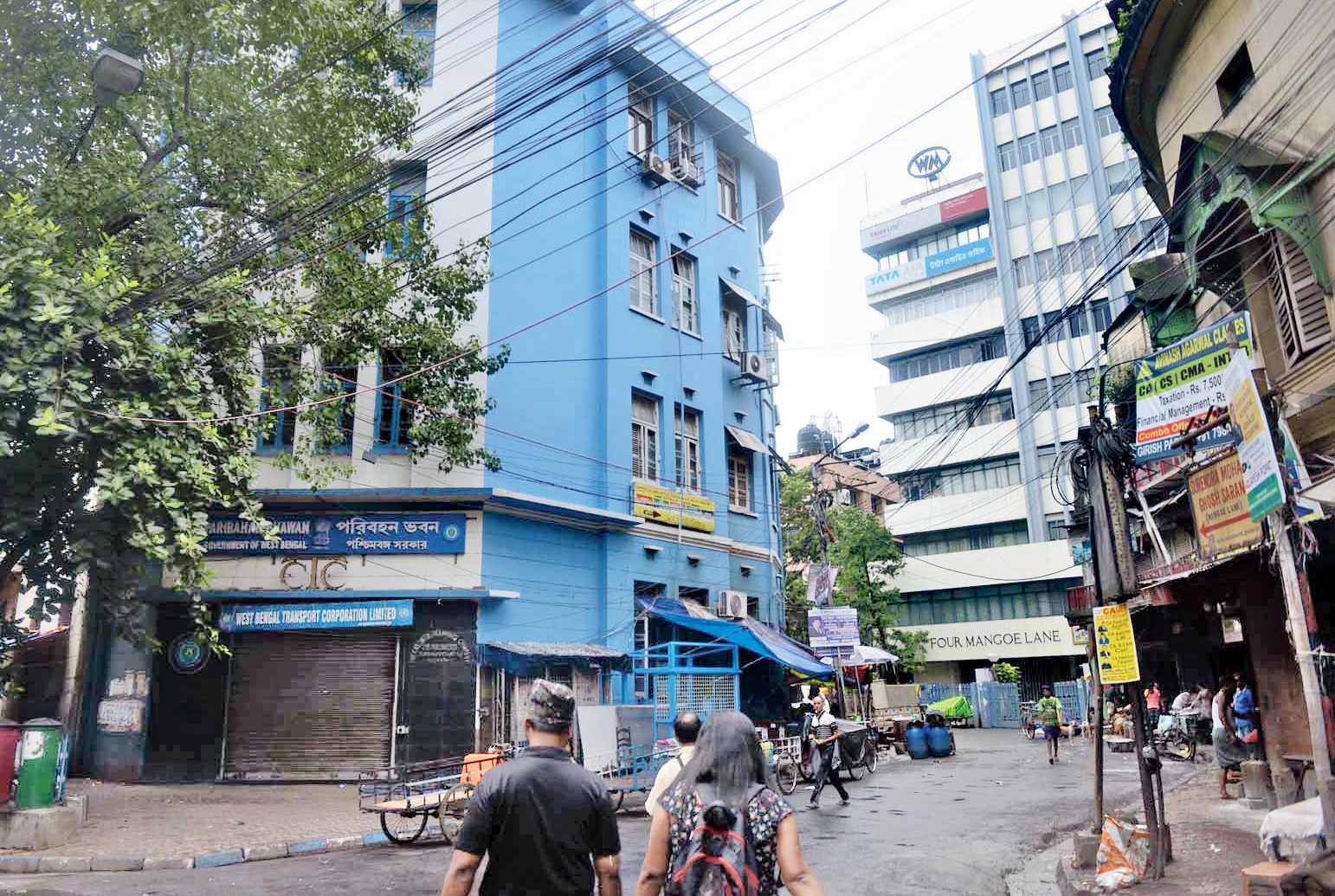 The seventh cart did not enter the godown but kept moving towards Wellington Square through Mission Row, Mangoe Lane (in picture), Bentinck Street, Lenin Sarani and Nirmal Chandra Street