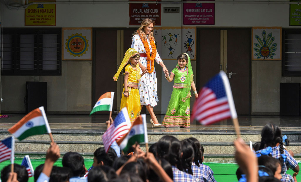 US First Lady Melania Trump during her visit to a government school in New Delhi, Tuesday