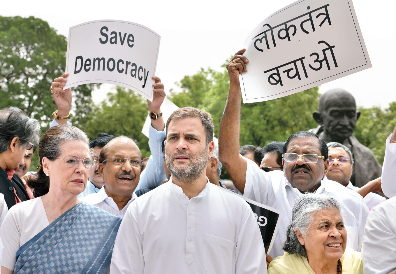 Sonia Gandhi and Rahul along with members of other Opposition parties at the protest on the Parliament campus on Thursday.