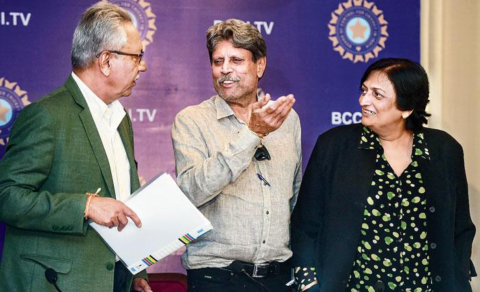 Cricket Advisory Committee members Anshuman Gaekwad, Kapil Dev and Shanta Rangaswamy at the media conference in Mumbai on Friday.