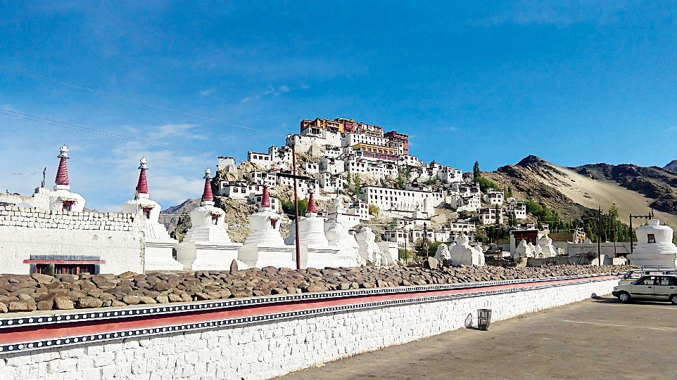 Thikse Gompa, a monastic complex at the top of a rocky hill