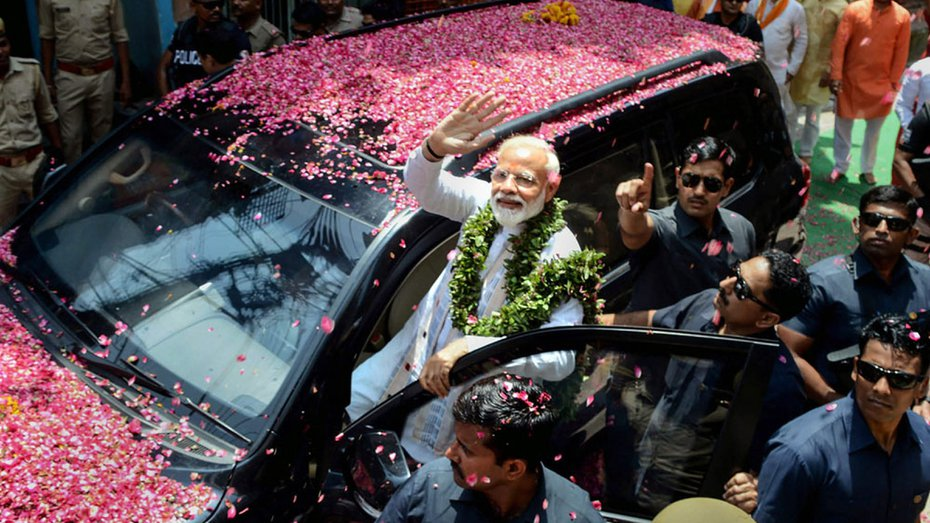 Prime Minister Narendra Modi on his way to file his nomination papers in Varanasi on Friday, April 26, 2019.
