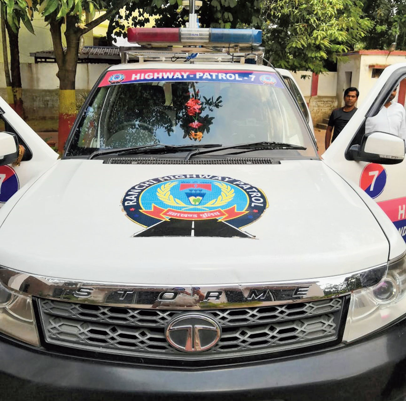 A PCR van with surveillance camera on top in Ranchi on Thursday.
