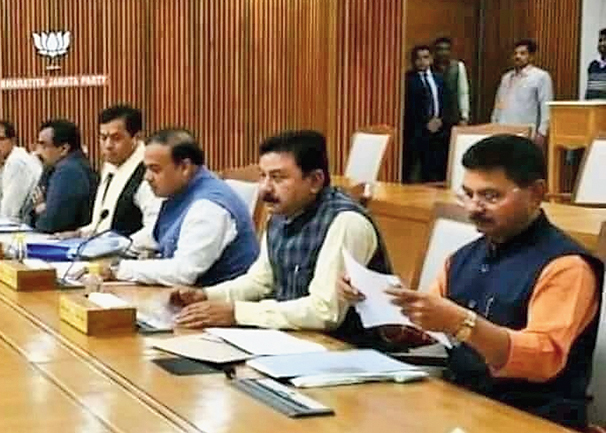 Assam BJP leaders at the meeting in New Delhi on Saturday.