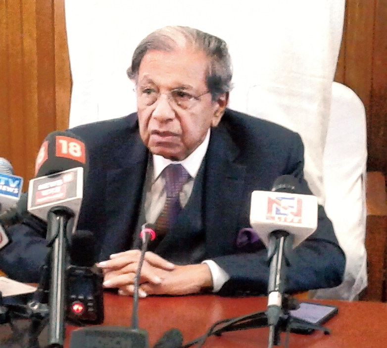 N.K. Singh speaks at the news conference in Imphal on Friday.