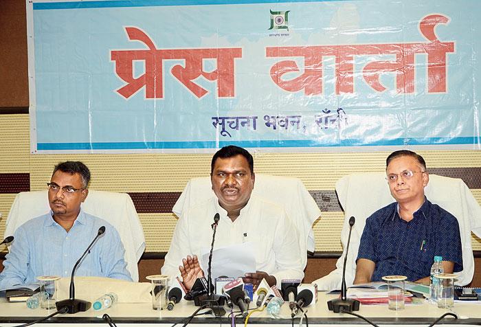 State tourism minister Amar Kumar Bauri (centre) at the news meet on Thursday.