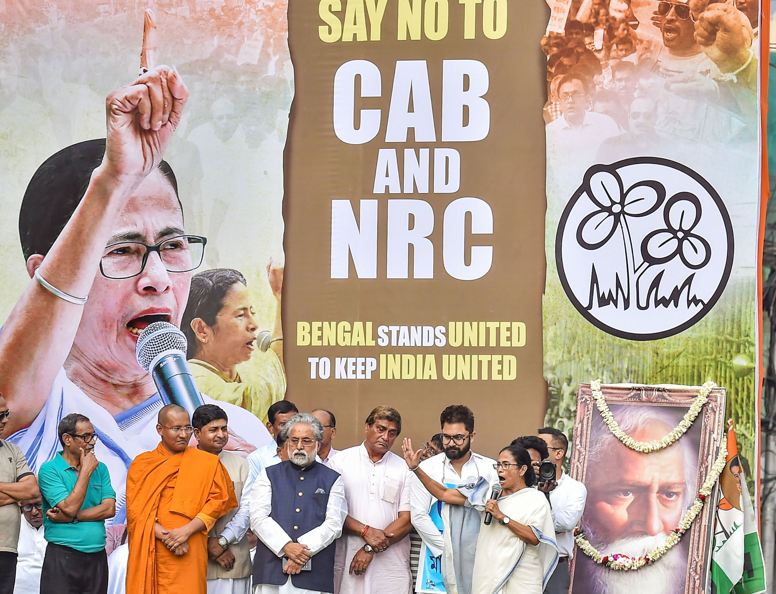 Mamata Banerjee addresses a rally against NRC and Citizenship Amendment Act in Calcutta on Monday.