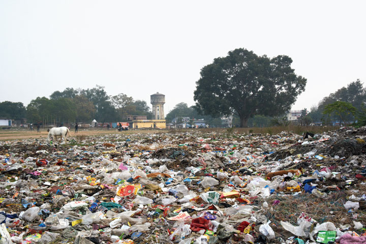 The garbage dump at Wireless Ground in Bagbera, Jamshedpur, on Thursday.