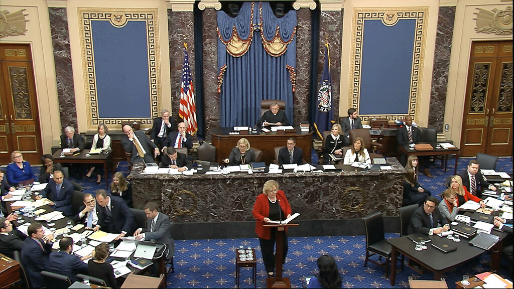 In this image from video, House impeachment manager Rep. Zoe Lofgren, D-Calif., speaks during the impeachment trial against President Donald Trump in the Senate at the U.S. Capitol in Washington, on January 22, 2020.