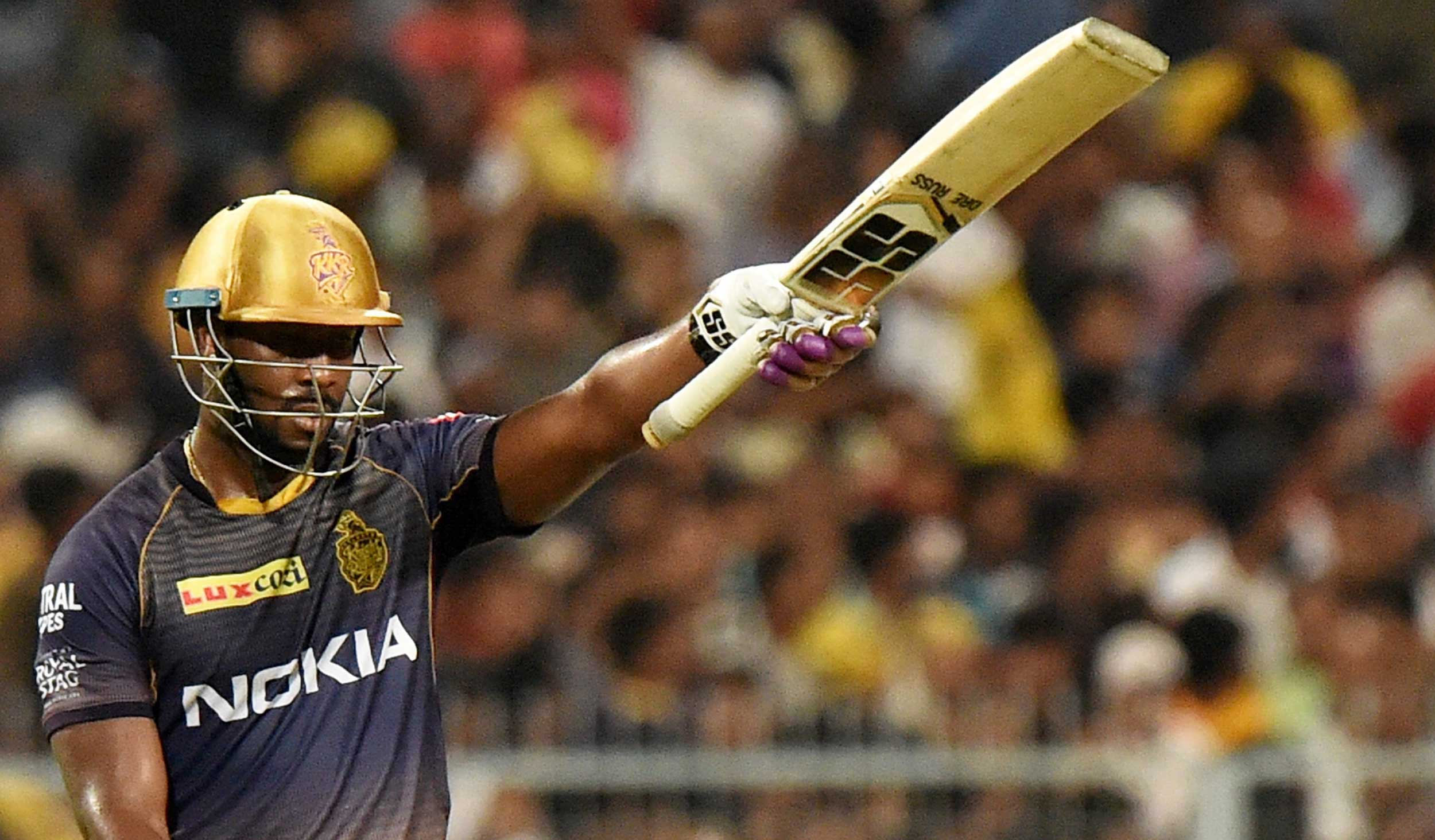 Man of the Match Andre Russell of Kolkata Knight Riders on way to his unbeaten 80 off 40 balls at the Eden on Sunday.