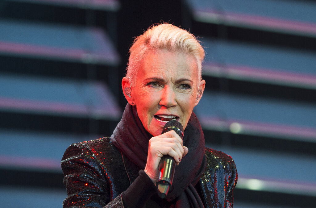 In this file photo dated July 18, 2015, Marie Fredriksson, singer of the pop duo Roxette, performs on stage.