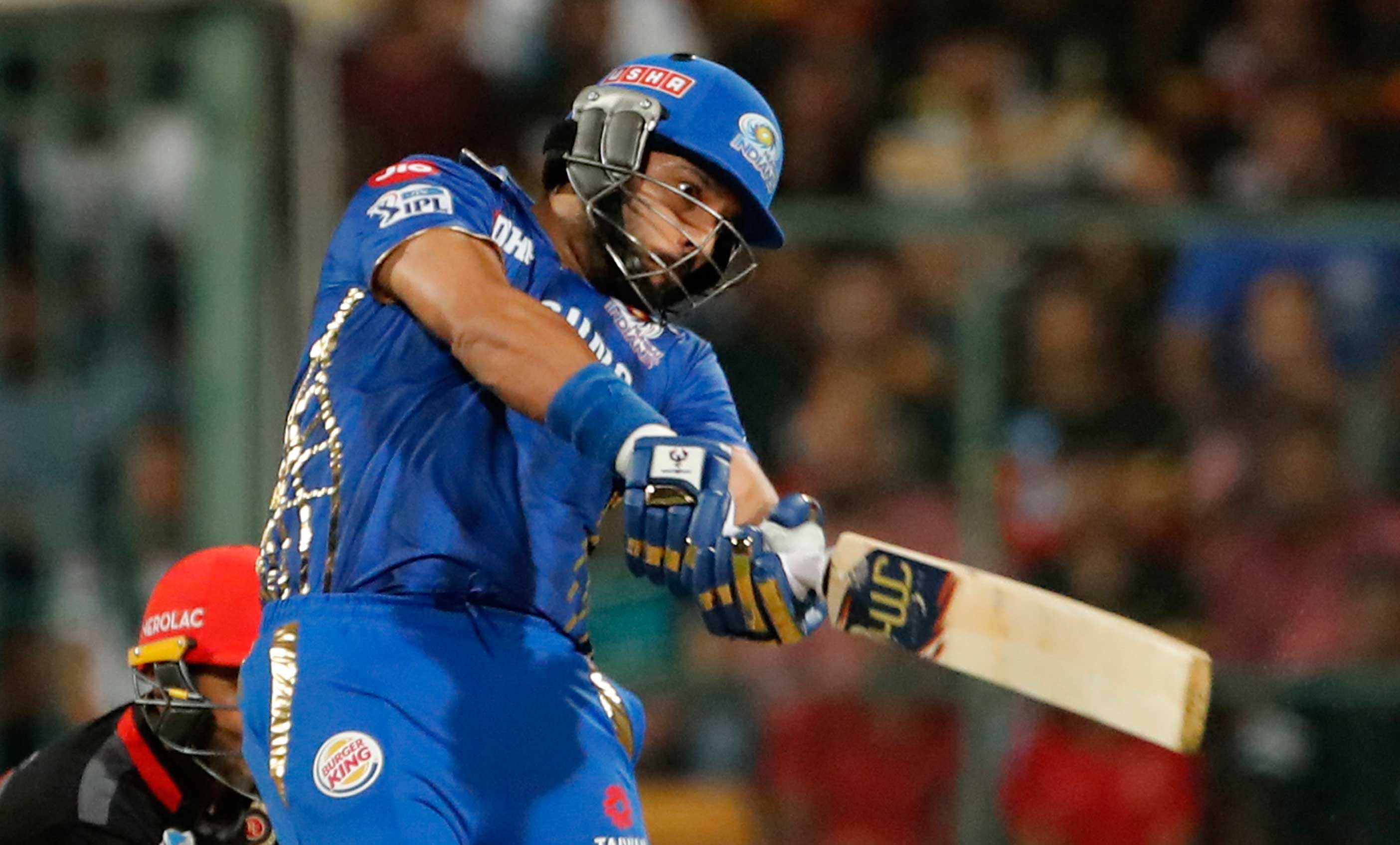 Yuvraj Singh plays a shot during the IPL T20 cricket match between Royal Challengers Bangalore and Mumbai Indians in Bangalore, on March 28, 2019.