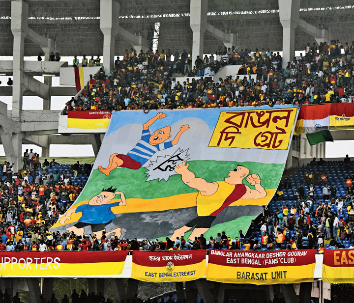 Narayan Debnath's iconic comic book character Bantul the Great becomes Bangal the Great  in this East Bengal tifo in protest against the new citizenship regime.