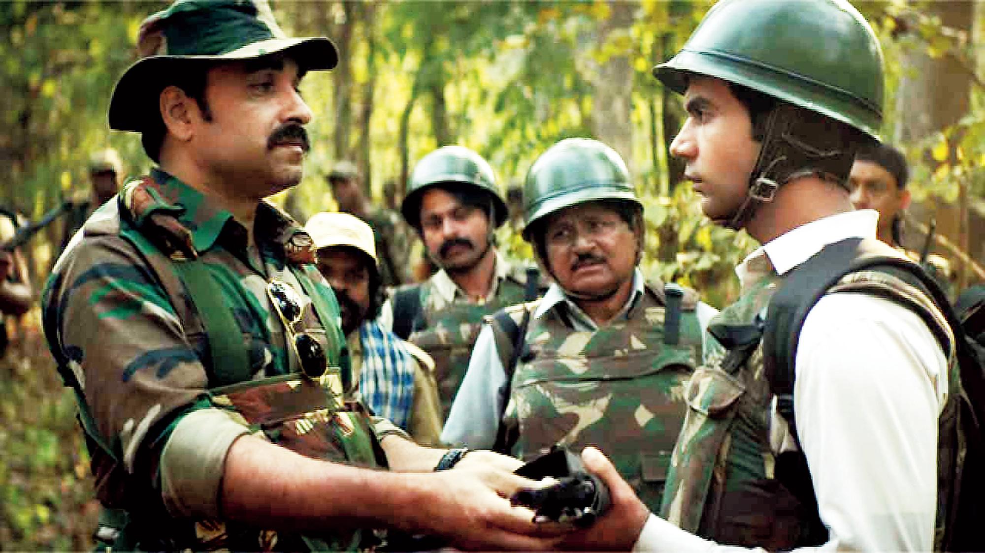 Pankaj Tripathi as Assistant Commandant Atma Singh with Rajkummar Rao as Newton from the film Newton.
