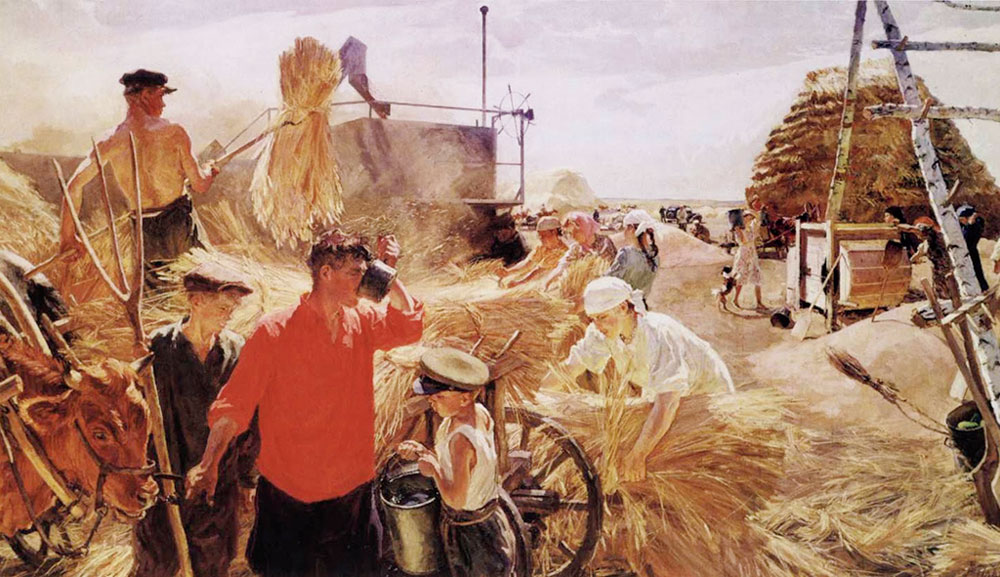 Threshing at the Collective Farm, a painting by Arkady Plastov representing the agricultural collectivisation that drove a wedge between Stalin and Bukharin