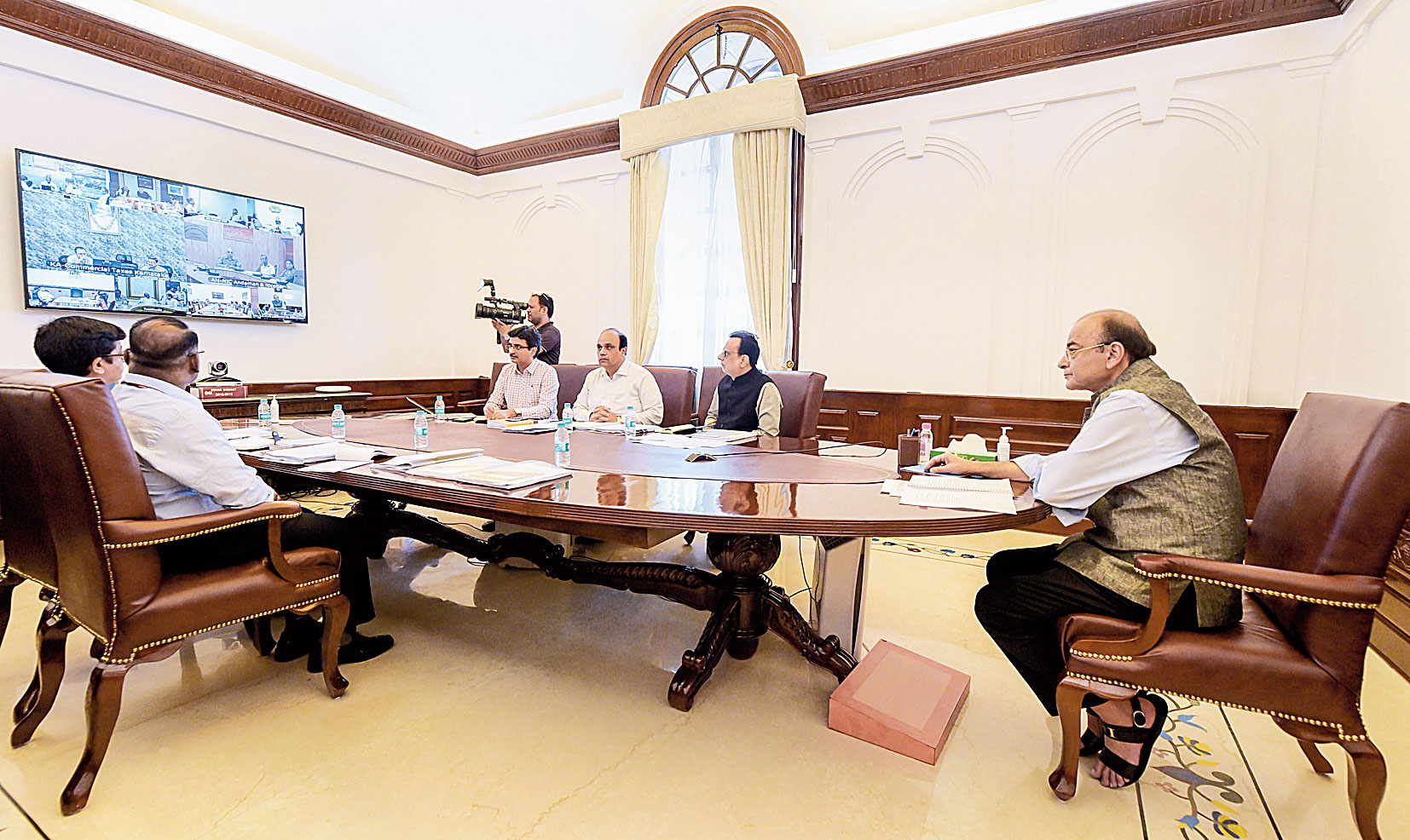 Arun Jaitley at the GST Council meeting via video conferencing in New Delhi on Friday.