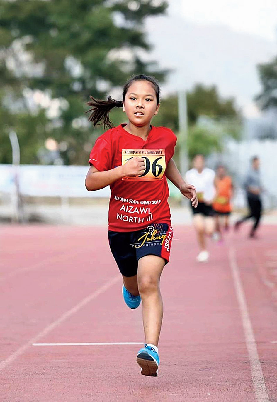 Mimi Lalthazuali during the State Games from Aizawl on Wednesday.