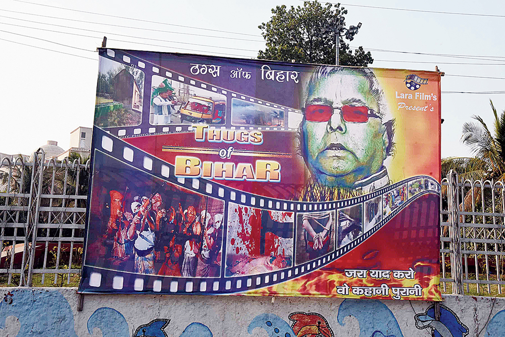 A poster put up in Patna by the JDU against Lalu Prasad and the RJD on Wednesday