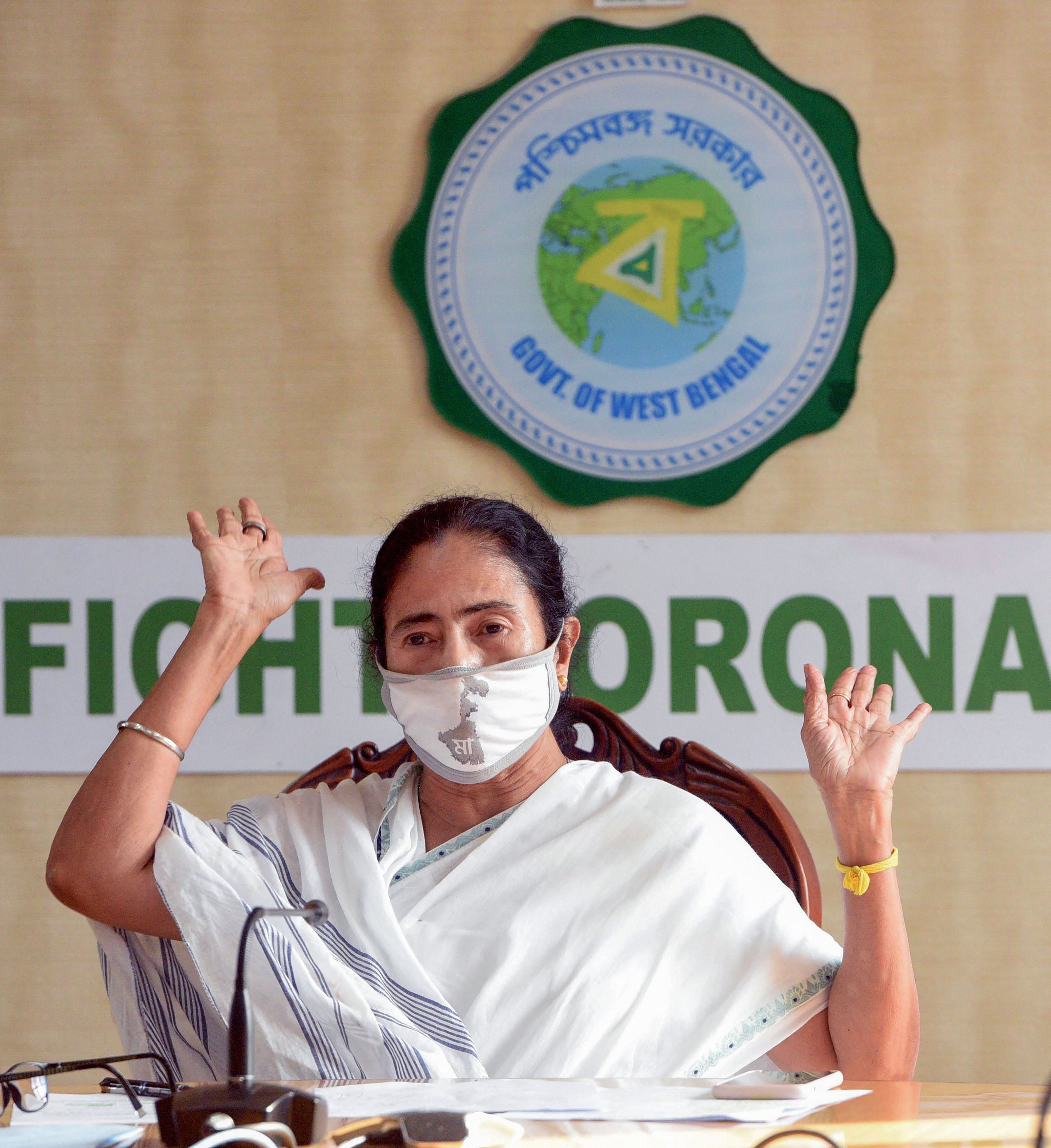 Bengal chief minister Mamata Banerjee addresses a news conference at Nabanna on Friday