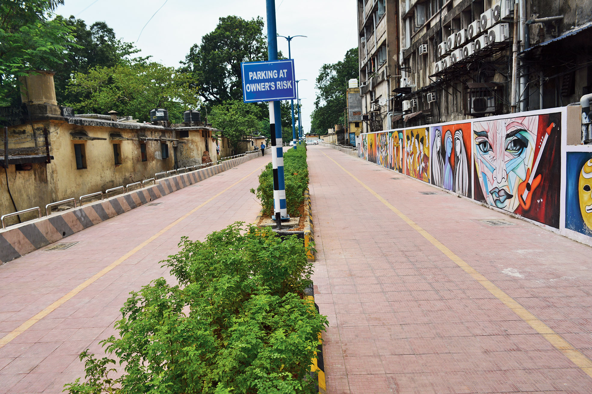The parking lot in Bistupur, Jamshedpur, on Saturday.