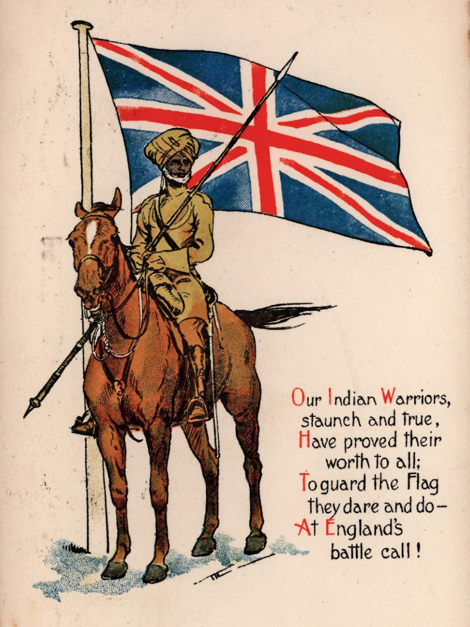 A wartime postcard from the First World War with a patriotic poem, 'Our Indian Warriors' illustrated with a Sikh cavalryman