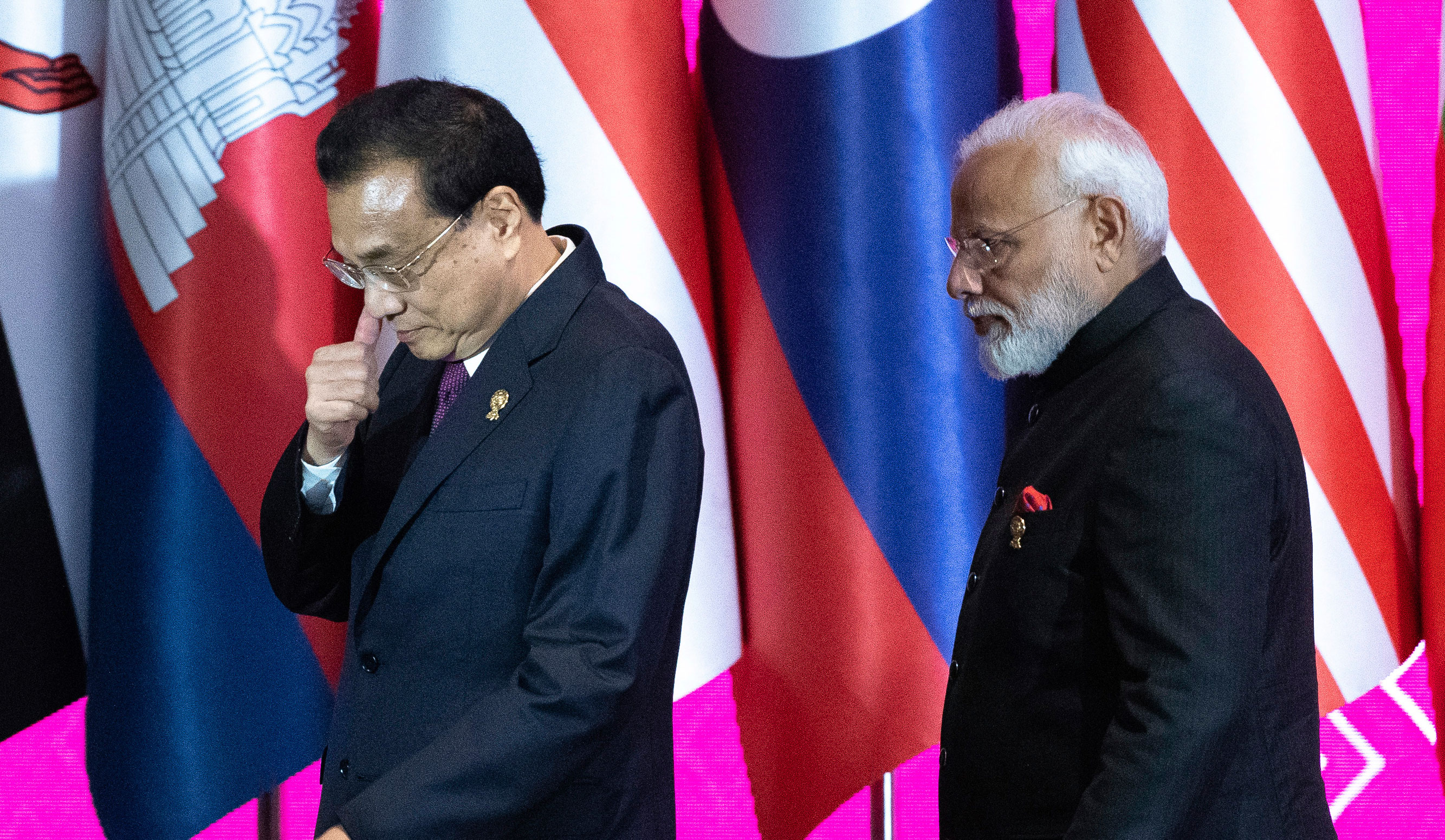 Chinese Premier Li Keqiang and Prime Minister Narendra Modi at the Regional Comprehensive Economic Partnership Association of Southeast Asian Nations summit in Nonthaburi, Thailand, on November 4, 2019.