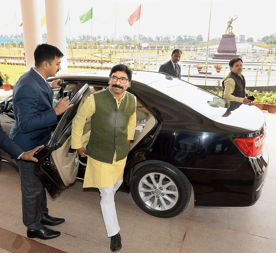 Chief minister Hemant Soren arrives at the Assembly in Ranchi on Thursday.