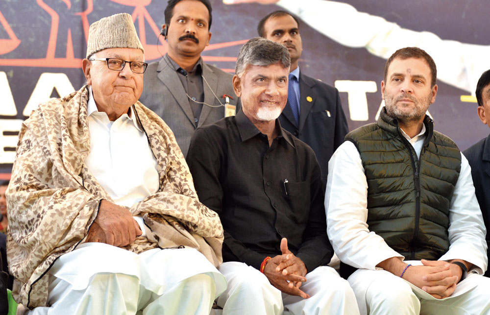 (From left) National Conference president Farooq Abdullah, Chandrababu Naidu and Rahul Gandhi during the Andhra chief minister's daylong fast in New Delhi on Monday.