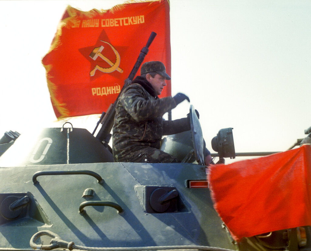 In this photo taken on February 15, 1989, Lt. Gen. Boris Gromov, sits atop of an armoured personnel carrier driving from Afghanistan across a bridge over the Amy Darya River, at Termez, Uzbekistan. in a twist of history, Russia has emerged as an influential power broker in Afghanistan, mediating between feuding factions as it jockeys with Washington for influence in a country where a US-led coalition has been fighting for more than 17 years.