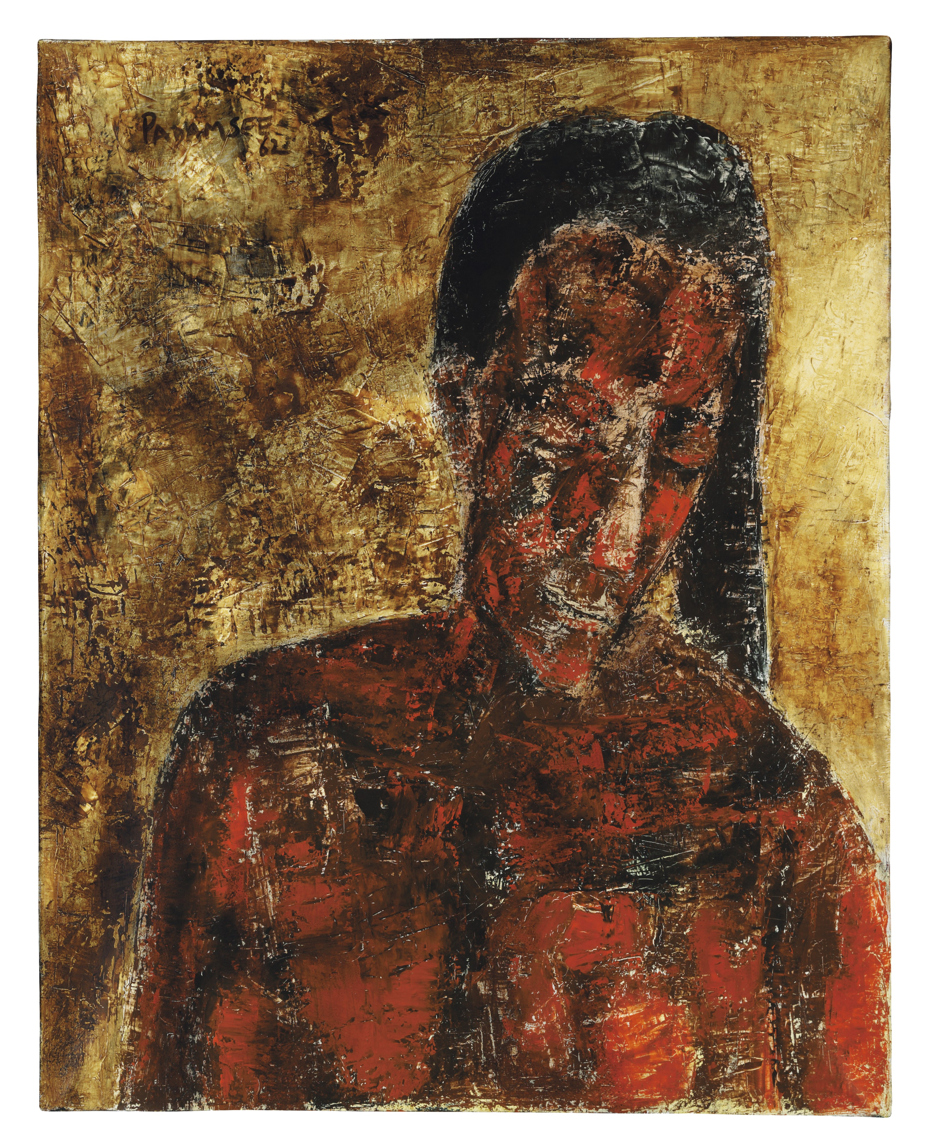 Young Woman with Black Hair and Inclined Head, Akbar Padamsee.  'Jeune Femme Aux Cheveux Noir, La Tête Inclinée' (Young Woman with Black Hair and Inclined Head was painted in 1962 when Akbar Padamsee (b. 1928) returned to Paris for the third time. At that time he was experimenting with light, texture and technique, contrasting dark and luminescent colours with strong brushstrokes. Works from this period are constructed with thick impasto applied by palette knife, creating an almost sculptural effect which accentuates the play of light and shade. (Estimate: $300,000-500,000)