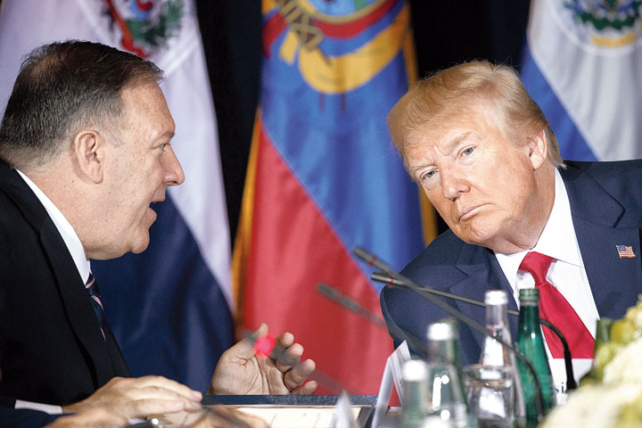 Secretary of state Mike Pompeo (left) and US President Donald Trump in New York.