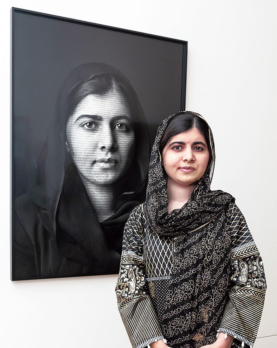 Malala portrait with poem in London