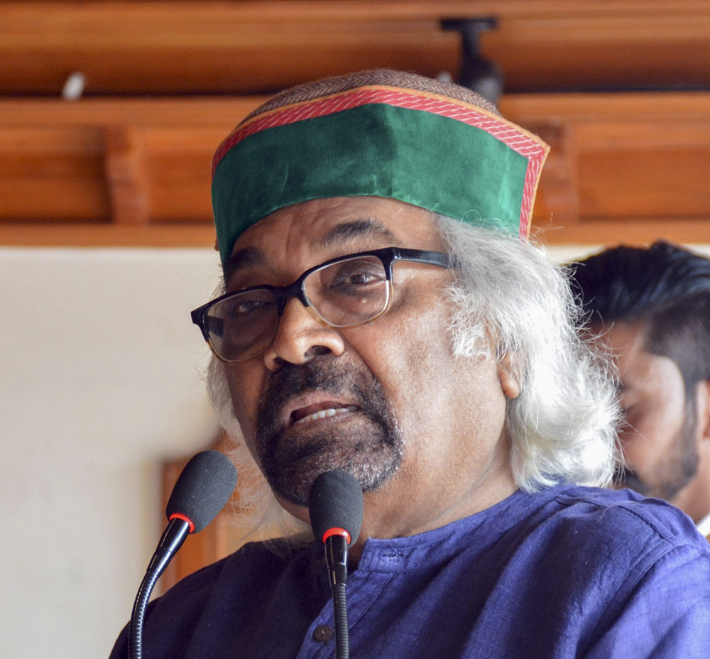 Congress leader Sam Pitroda interacts with party workers, during the ongoing Lok Sabha polls, in Shimla, Friday, May 10, 2019.