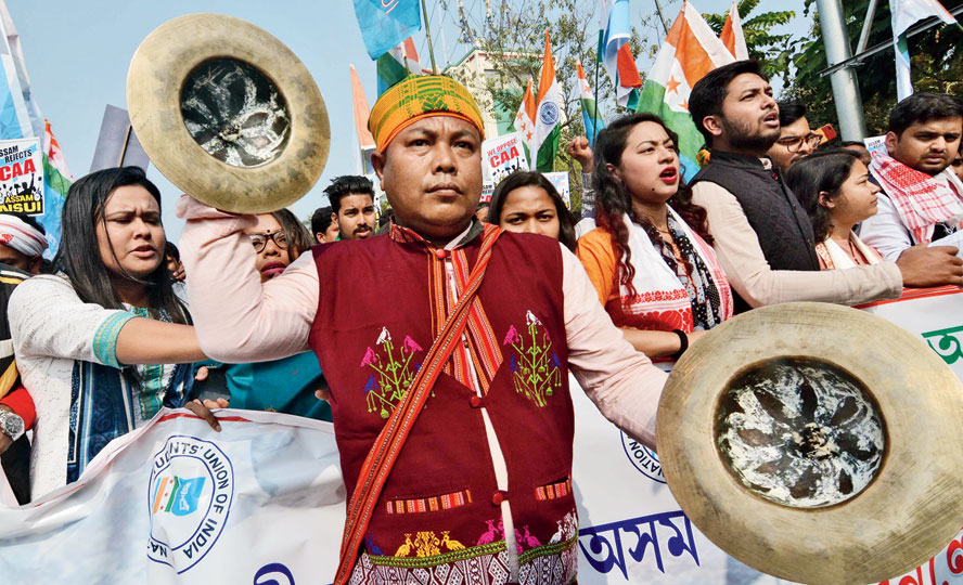 NSUI activities take part in a protest rally in Guwahati on Saturday