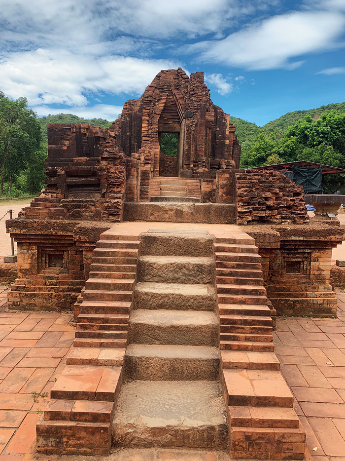 Although in ruins and with craters made by bombs left unfilled, the My Son Temple is still an imposing sight