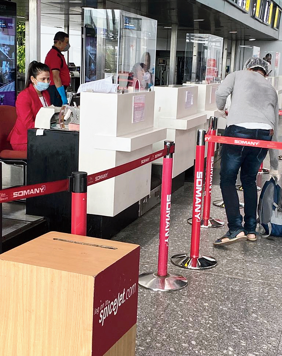 Glass shields are a new addition at check-in counters