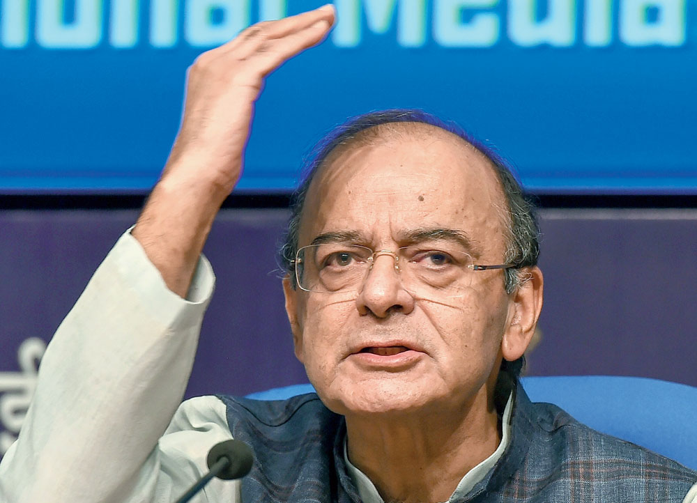 Jaitley at the news conference in New Delhi on Wednesday.