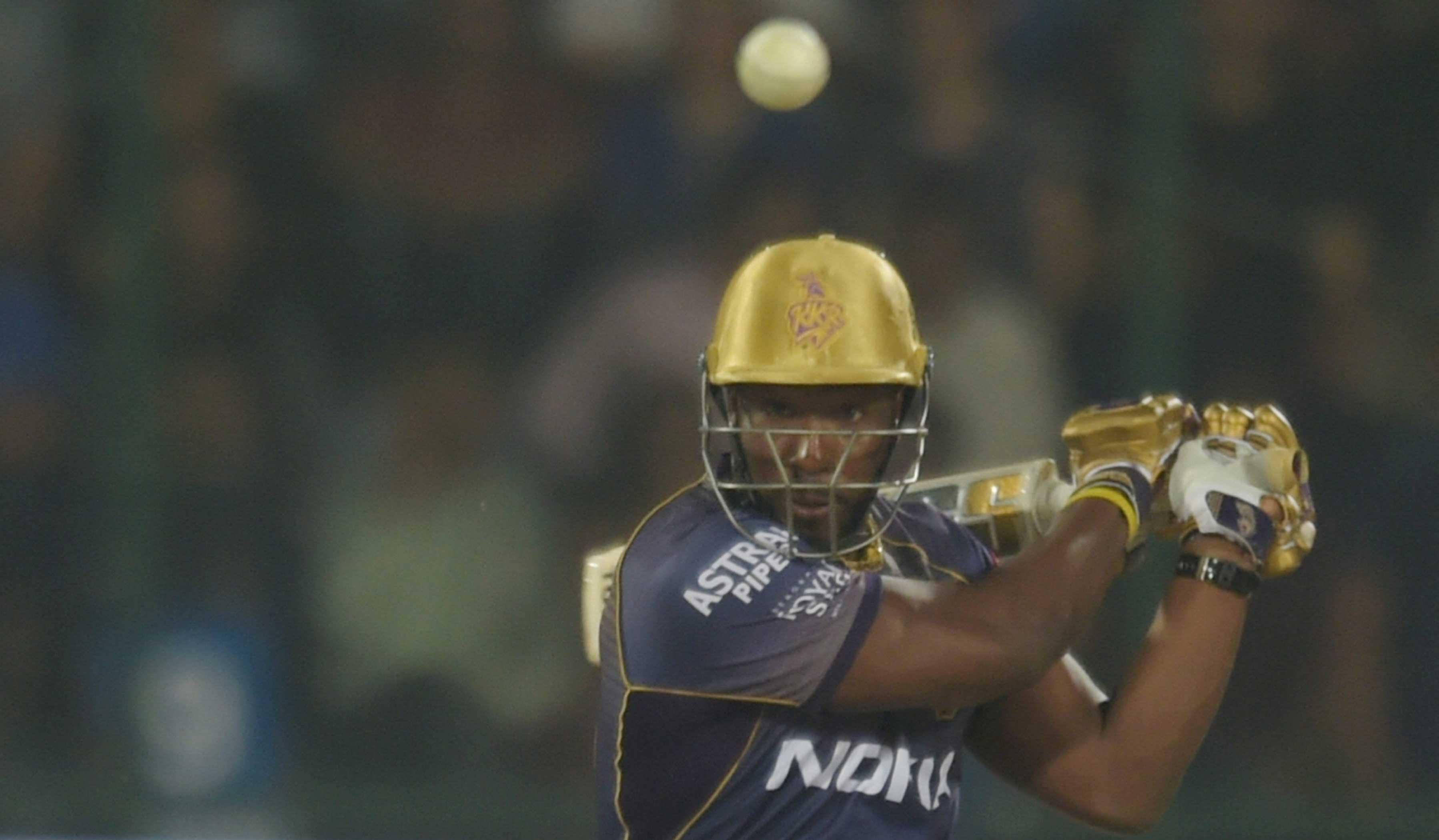 Andre Russell plays a shot during the IPL cricket match between Delhi Capitals and Kolkata Knight Riders at Feroz Shah Kotla Stadium, New Delhi, on March 30, 2018.