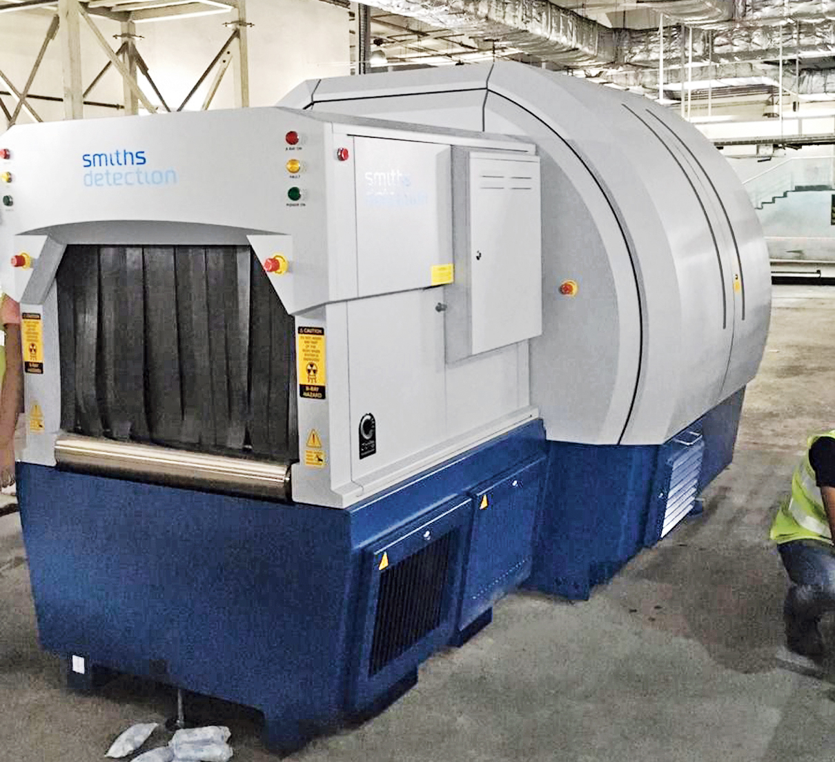 One of the X-ray machines being installed at the airport as part of the inline baggage scanning system