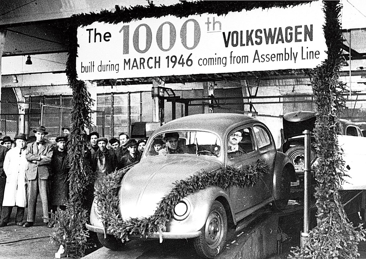 British army Major Ivan Hirst drives the 1,000th Beetle off the production line in Wolfsburg, Germany. Little did he think that the car would pick up a name that would continue for another 70 years!