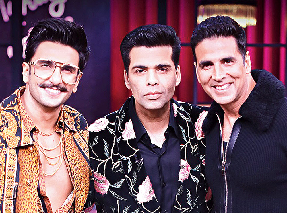 Karan Johar with Ranveer Singh and Akshay Kumar on Koffee with Karan